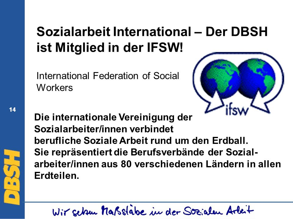 14 Sozialarbeit International – Der DBSH ist Mitglied in der IFSW! International Federation of Social Workers Die internationale Vereinigung der Sozia