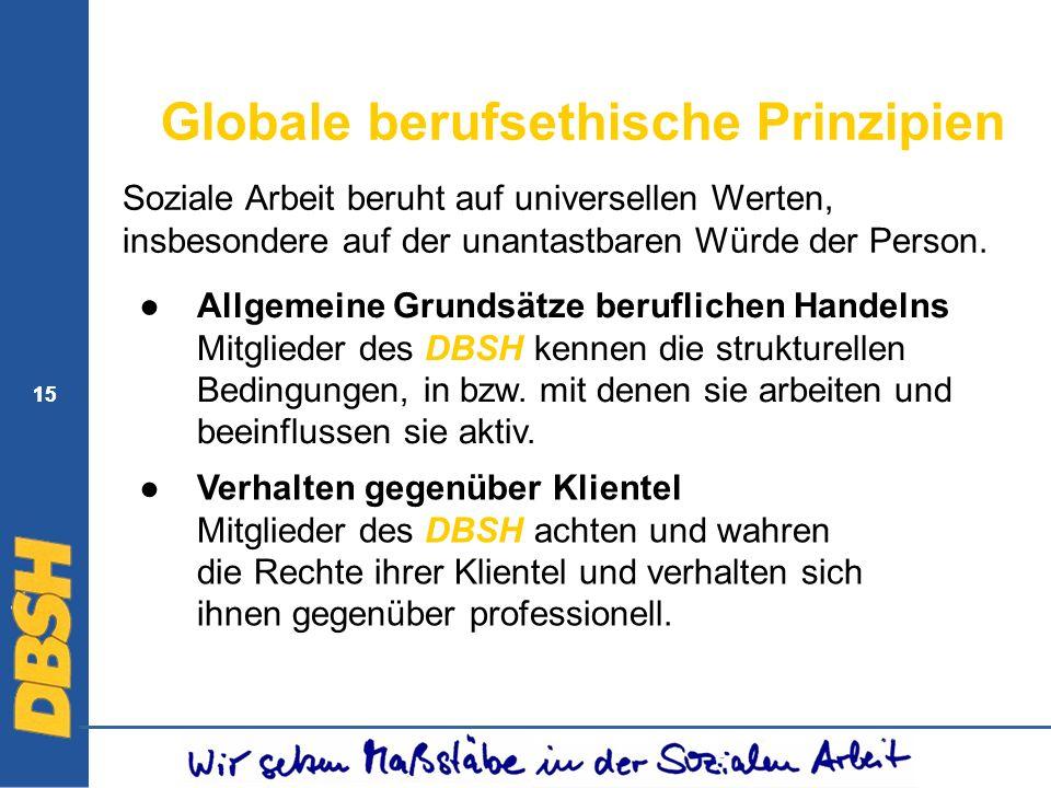 15 Globale berufsethische Prinzipien Allgemeine Grundsätze beruflichen Handelns Mitglieder des DBSH kennen die strukturellen Bedingungen, in bzw. mit