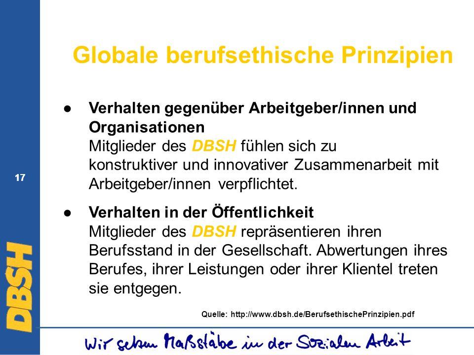 17 Globale berufsethische Prinzipien Verhalten gegenüber Arbeitgeber/innen und Organisationen Mitglieder des DBSH fühlen sich zu konstruktiver und inn