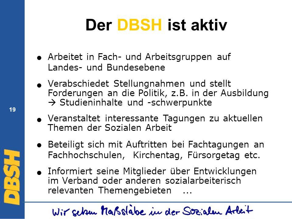 19 Der DBSH ist aktiv Arbeitet in Fach- und Arbeitsgruppen auf Landes- und Bundesebene Verabschiedet Stellungnahmen und stellt Forderungen an die Poli