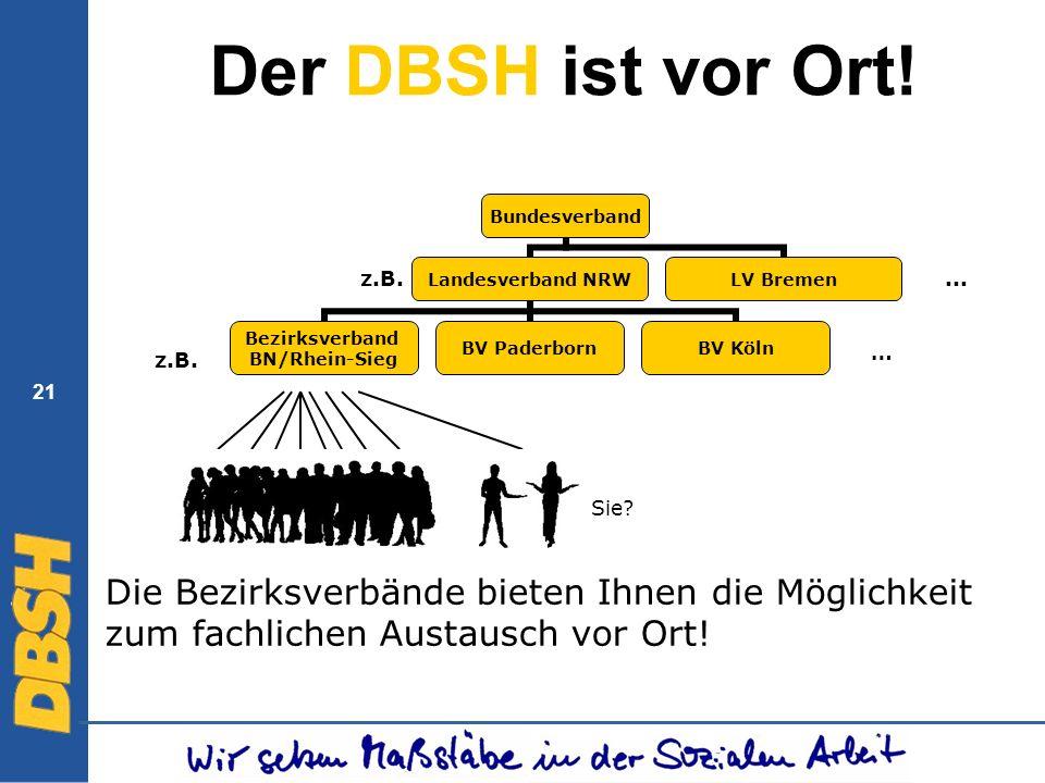 21 Der DBSH ist vor Ort! Bundesverband Landesverband NRW Bezirksverband BN/Rhein-Sieg BV PaderbornBV Köln LV Bremen z.B. Die Bezirksverbände bieten Ih