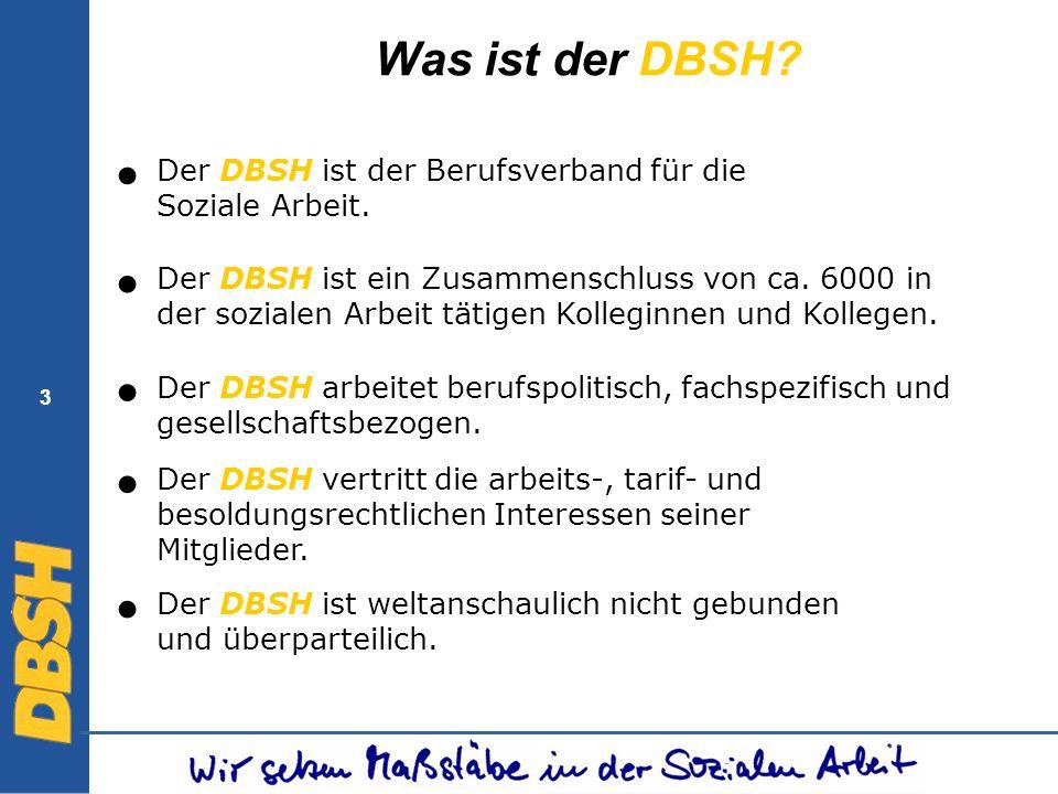 3 3 Was ist der DBSH? Der DBSH arbeitet berufspolitisch, fachspezifisch und gesellschaftsbezogen. Der DBSH ist ein Zusammenschluss von ca. 6000 in der