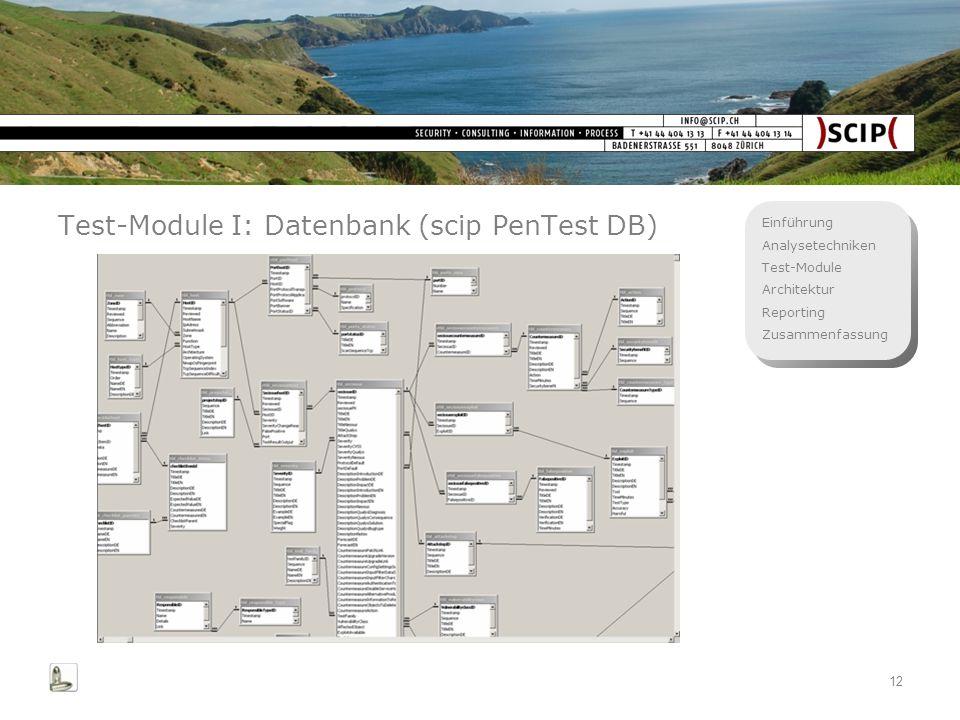 Einführung Analysetechniken Test-Module Architektur Reporting Zusammenfassung 12 Test-Module I: Datenbank (scip PenTest DB)