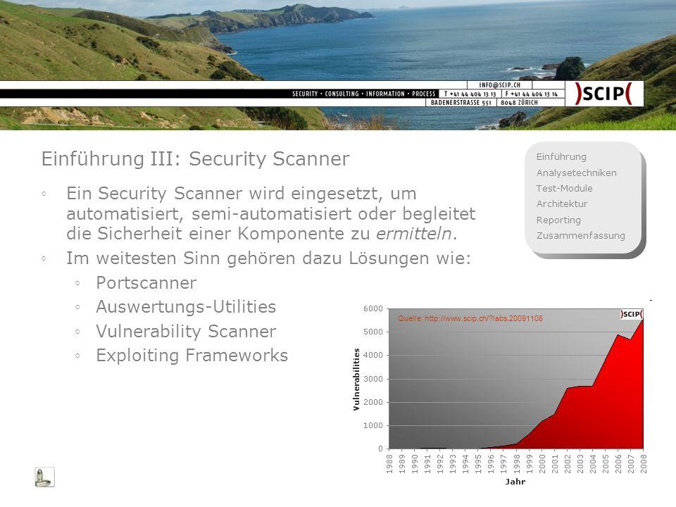 Einführung Analysetechniken Test-Module Architektur Reporting Zusammenfassung 5 Einführung III: Security Scanner Ein Security Scanner wird eingesetzt,