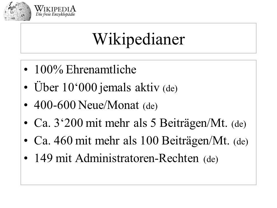 Wikipedianer 100% Ehrenamtliche Über 10000 jemals aktiv (de) 400-600 Neue/Monat (de) Ca. 3200 mit mehr als 5 Beiträgen/Mt. (de) Ca. 460 mit mehr als 1