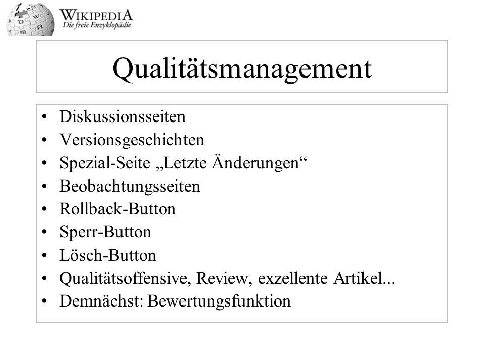 Qualitätsmanagement Diskussionsseiten Versionsgeschichten Spezial-Seite Letzte Änderungen Beobachtungsseiten Rollback-Button Sperr-Button Lösch-Button