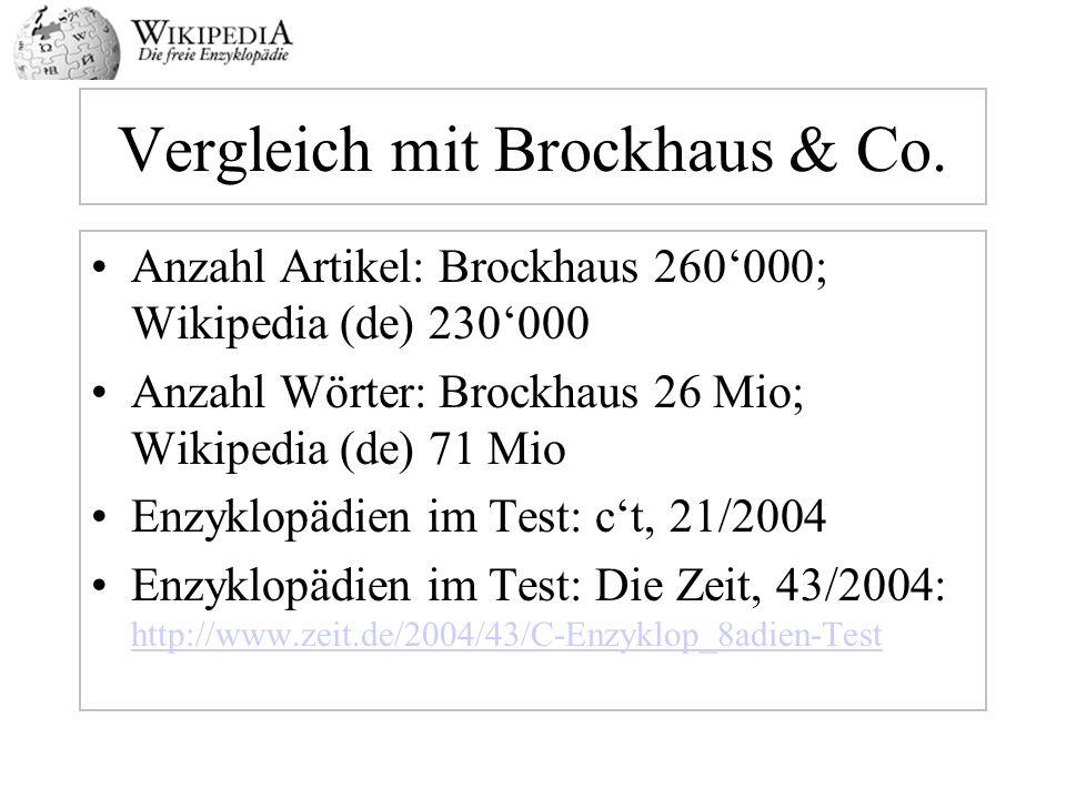 Vergleich mit Brockhaus & Co. Anzahl Artikel: Brockhaus 260000; Wikipedia (de) 230000 Anzahl Wörter: Brockhaus 26 Mio; Wikipedia (de) 71 Mio Enzyklopä