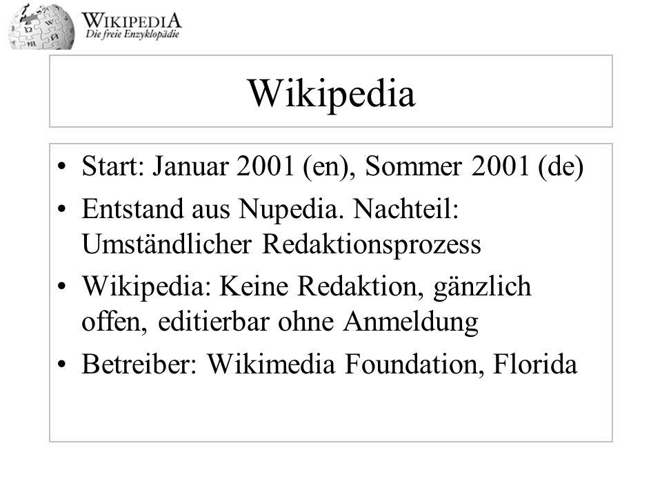 Wikipedia Start: Januar 2001 (en), Sommer 2001 (de) Entstand aus Nupedia. Nachteil: Umständlicher Redaktionsprozess Wikipedia: Keine Redaktion, gänzli