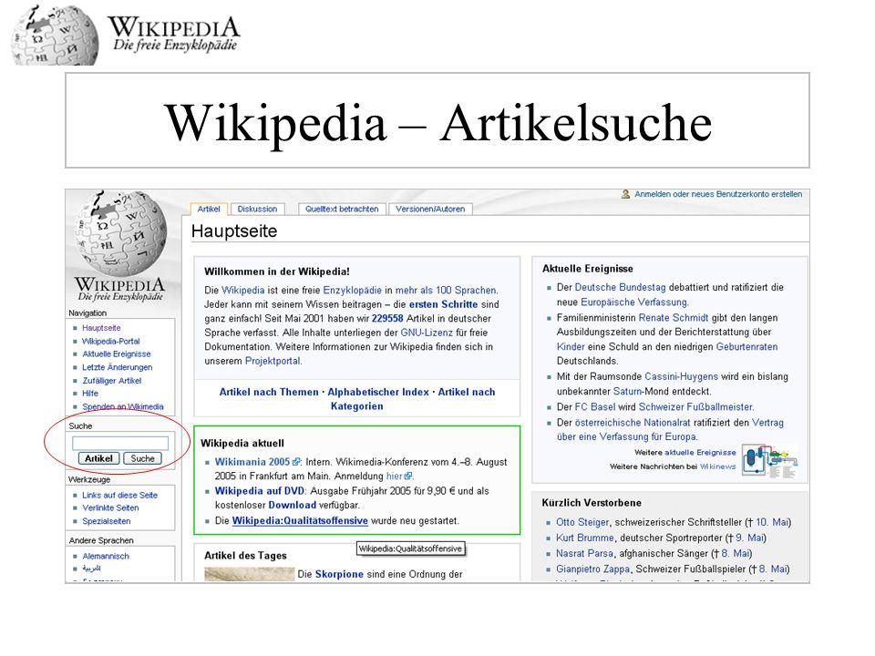 Wikipedia – Artikelsuche