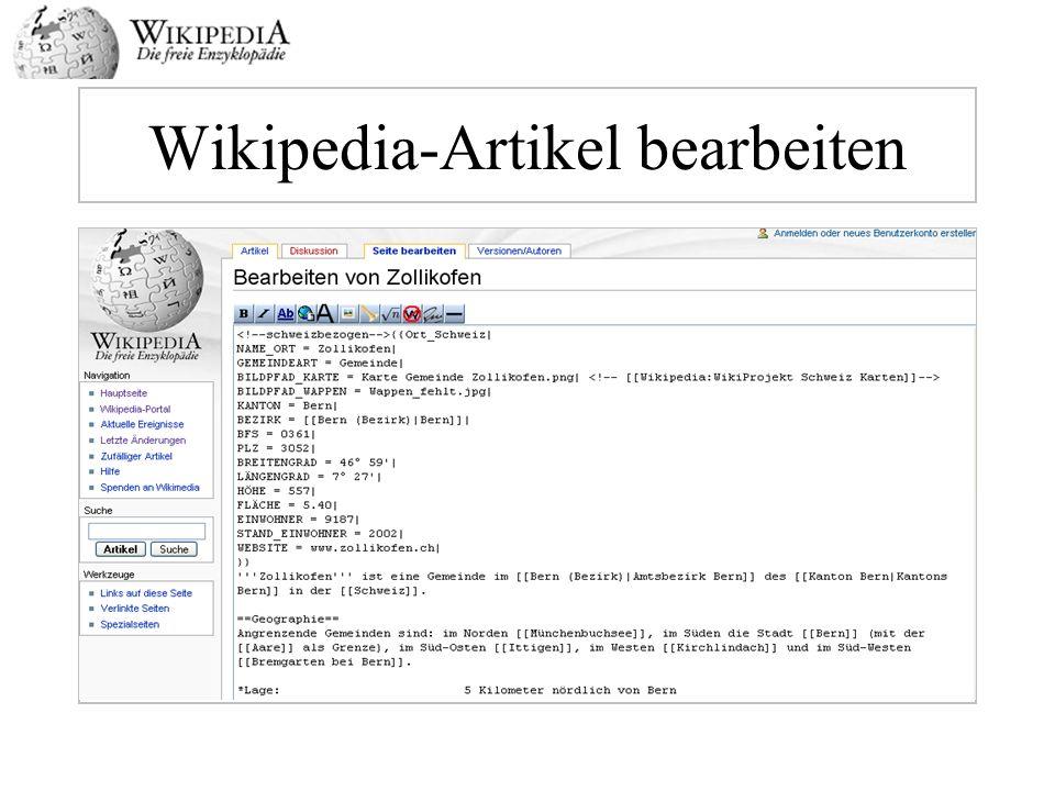 Wikipedia-Artikel bearbeiten