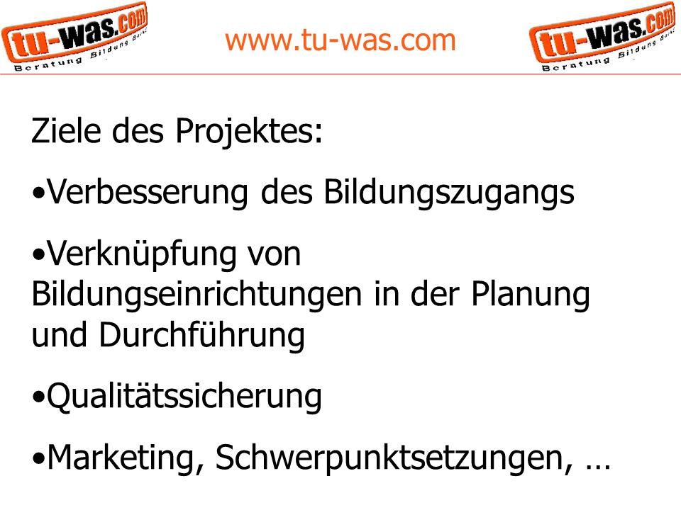 www.tu-was.com Ergebnisse des Projektes: Webseite Onlinedatenbank von 300 Bildungsanbietern Content Management System (CMS) mit großem internen Bereich