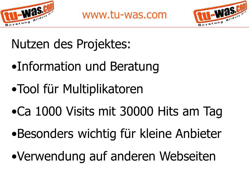 www.tu-was.com Nutzen des Projektes: Information und Beratung Tool für Multiplikatoren Ca 1000 Visits mit 30000 Hits am Tag Besonders wichtig für kleine Anbieter Verwendung auf anderen Webseiten