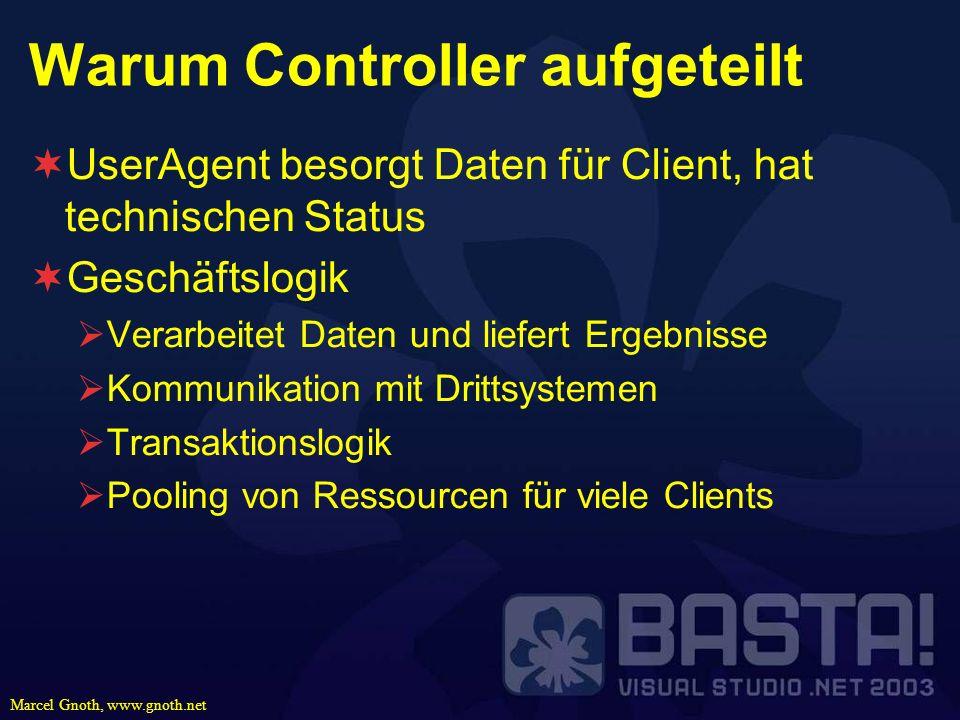 Marcel Gnoth, www.gnoth.net Warum Controller aufgeteilt UserAgent besorgt Daten für Client, hat technischen Status Geschäftslogik Verarbeitet Daten un
