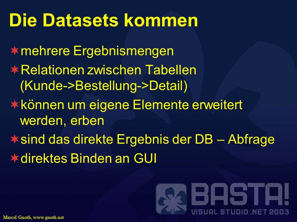 Marcel Gnoth, www.gnoth.net Die Datasets kommen mehrere Ergebnismengen Relationen zwischen Tabellen (Kunde->Bestellung->Detail) können um eigene Eleme