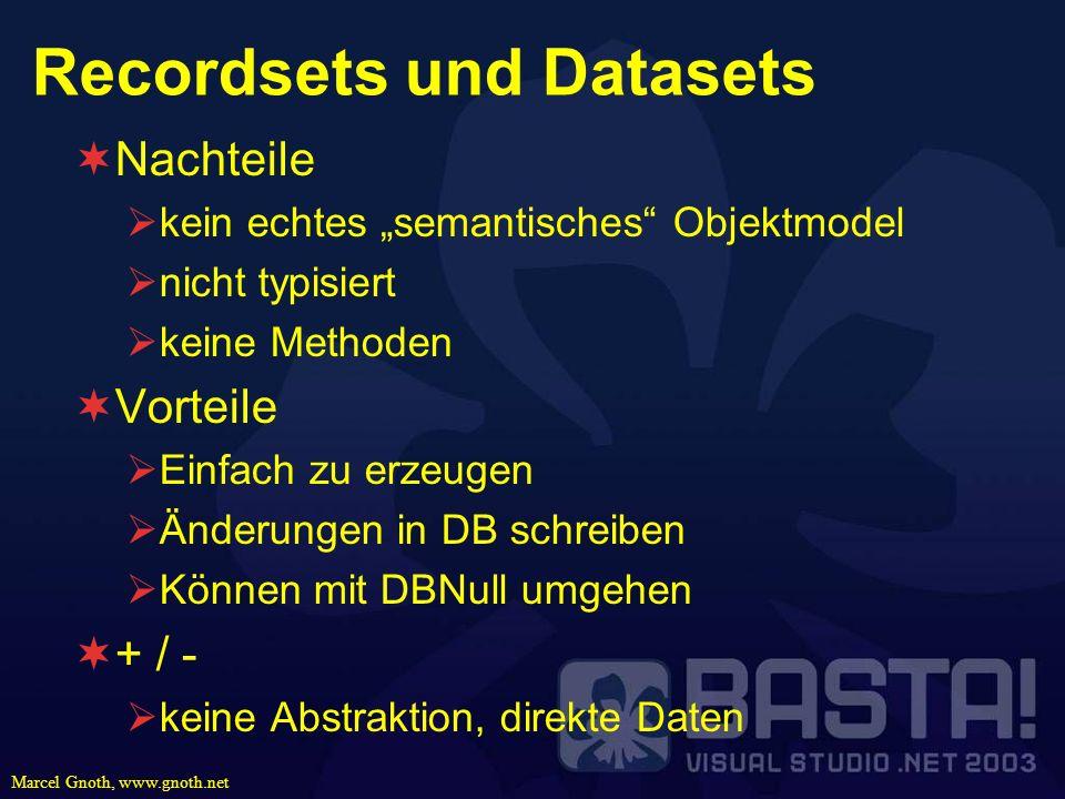 Marcel Gnoth, www.gnoth.net Recordsets und Datasets Nachteile kein echtes semantisches Objektmodel nicht typisiert keine Methoden Vorteile Einfach zu