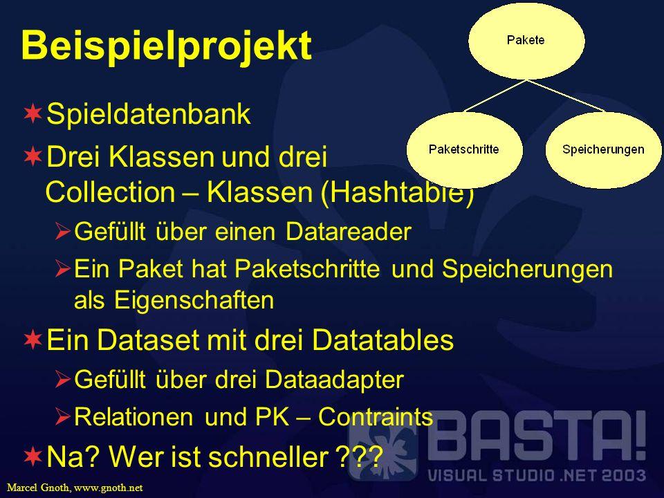 Marcel Gnoth, www.gnoth.net Beispielprojekt Spieldatenbank Drei Klassen und drei Collection – Klassen (Hashtable) Gefüllt über einen Datareader Ein Pa