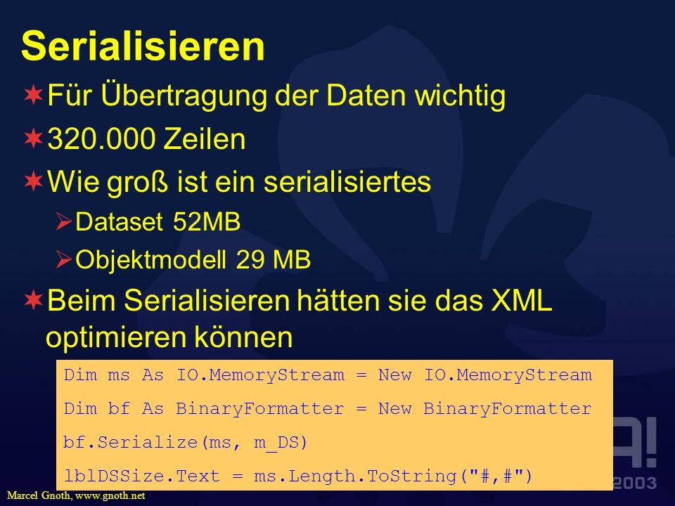 Marcel Gnoth, www.gnoth.net Serialisieren Für Übertragung der Daten wichtig 320.000 Zeilen Wie groß ist ein serialisiertes Dataset 52MB Objektmodell 2