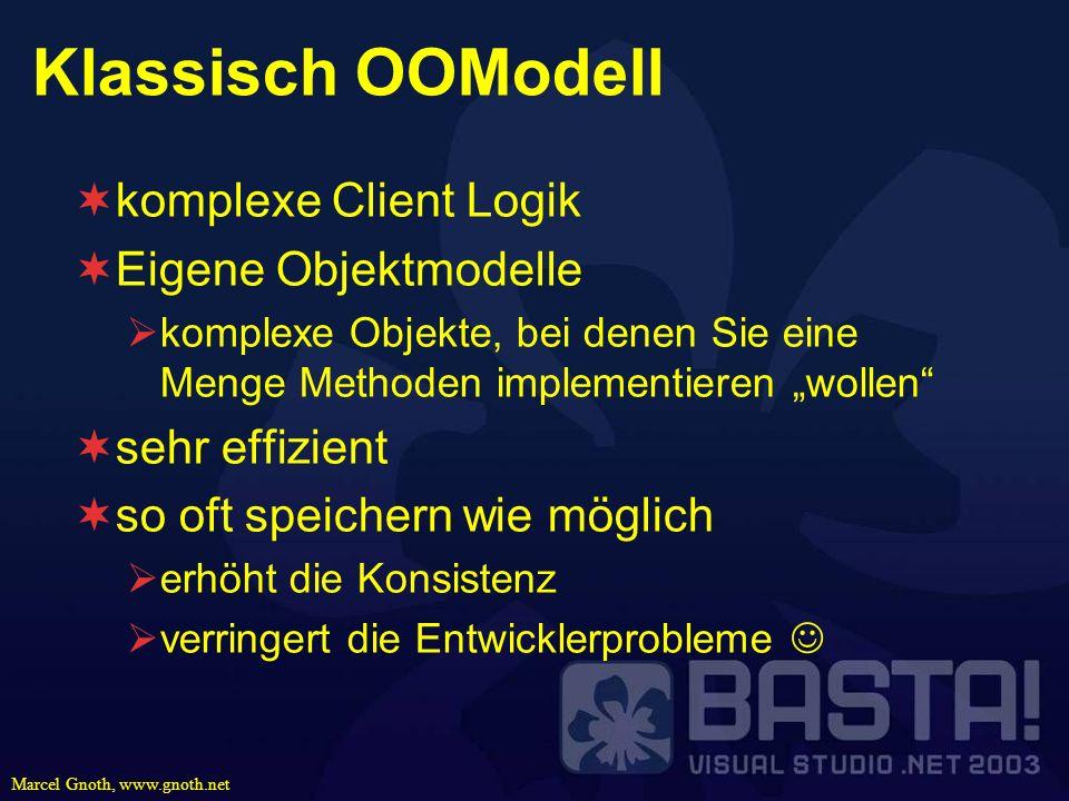 Marcel Gnoth, www.gnoth.net Klassisch OOModell komplexe Client Logik Eigene Objektmodelle komplexe Objekte, bei denen Sie eine Menge Methoden implemen