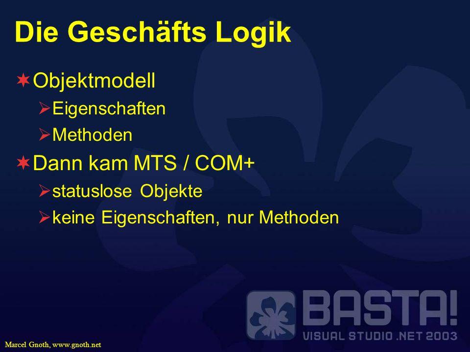 Marcel Gnoth, www.gnoth.net Die Geschäfts Logik Objektmodell Eigenschaften Methoden Dann kam MTS / COM+ statuslose Objekte keine Eigenschaften, nur Me