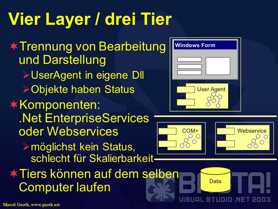 Marcel Gnoth, www.gnoth.net Vier Layer / drei Tier Trennung von Bearbeitung und Darstellung UserAgent in eigene Dll Objekte haben Status Komponenten:.