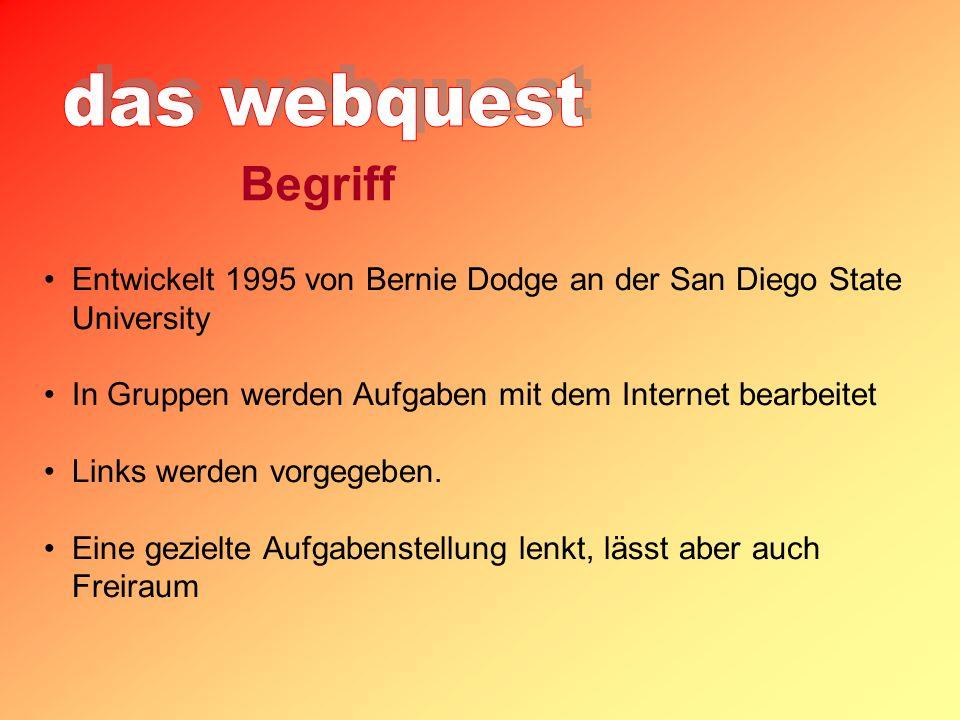 Entwickelt 1995 von Bernie Dodge an der San Diego State University In Gruppen werden Aufgaben mit dem Internet bearbeitet Links werden vorgegeben.