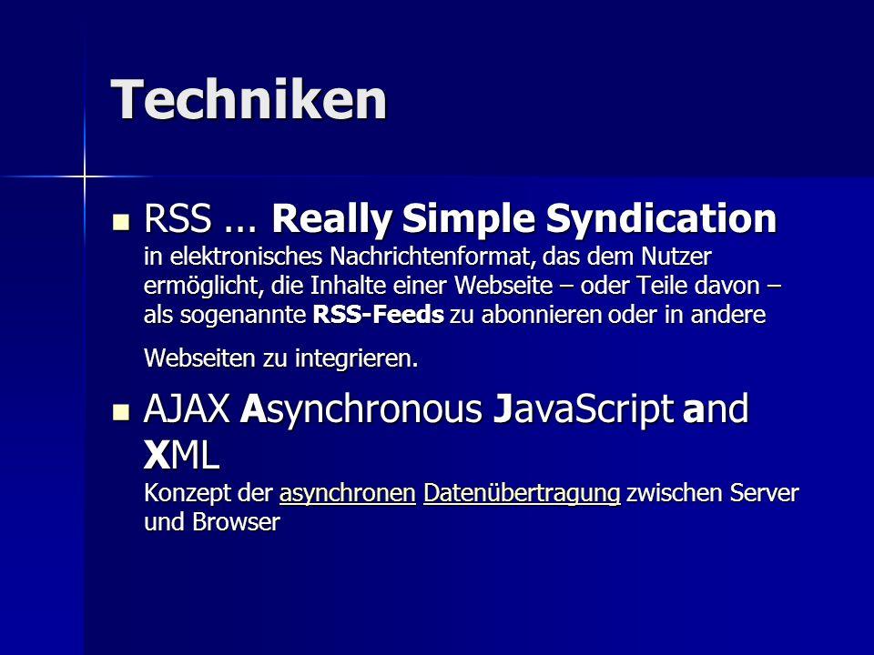 Techniken RSS... Really Simple Syndication in elektronisches Nachrichtenformat, das dem Nutzer ermöglicht, die Inhalte einer Webseite – oder Teile dav