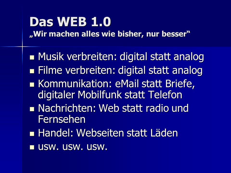 Das WEB 1.0 Wir machen alles wie bisher, nur besser Musik verbreiten: digital statt analog Musik verbreiten: digital statt analog Filme verbreiten: di