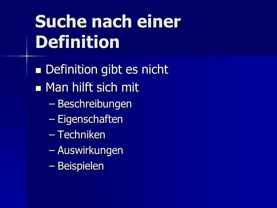 Suche nach einer Definition Definition gibt es nicht Definition gibt es nicht Man hilft sich mit Man hilft sich mit –Beschreibungen –Eigenschaften –Te