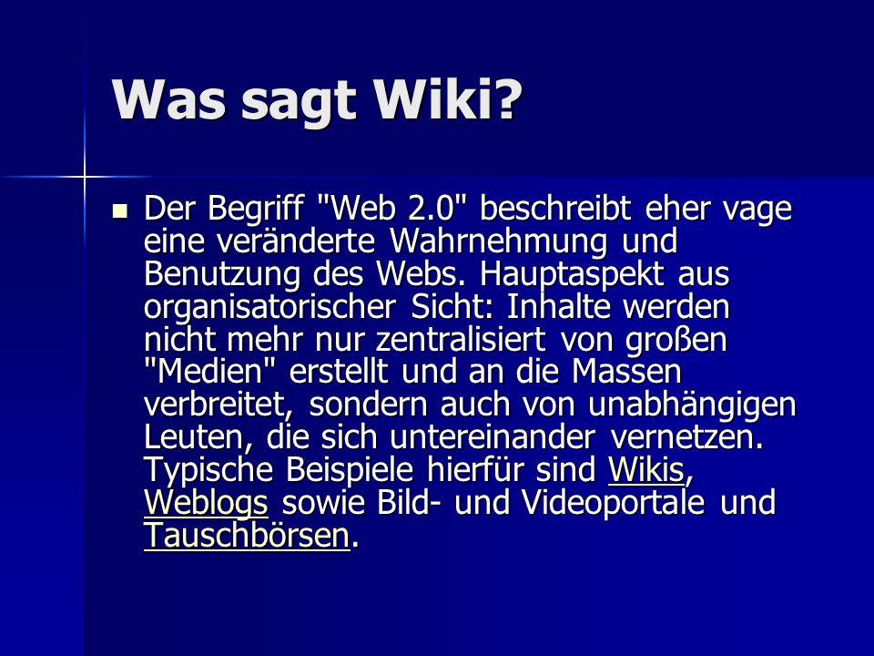 Was sagt Wiki? Der Begriff