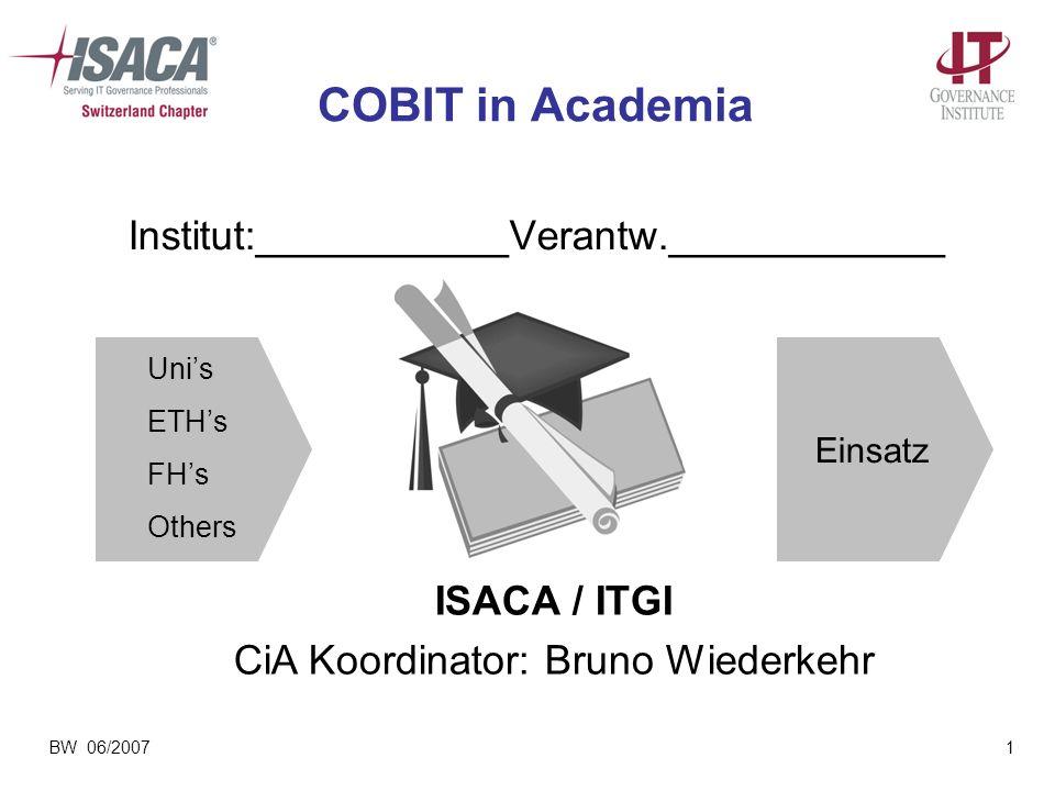 BW 06/20071 COBIT in Academia Institut:___________Verantw.____________ ISACA / ITGI CiA Koordinator: Bruno Wiederkehr Unis ETHs FHs Others Einsatz