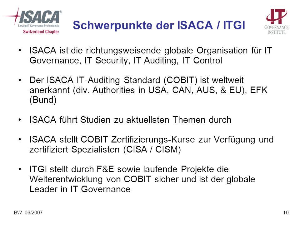 BW 06/200710 Schwerpunkte der ISACA / ITGI ISACA ist die richtungsweisende globale Organisation für IT Governance, IT Security, IT Auditing, IT Contro