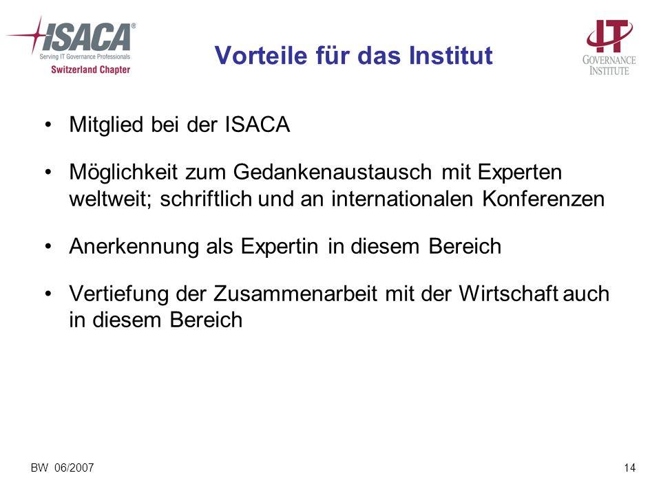 BW 06/200714 Vorteile für das Institut Mitglied bei der ISACA Möglichkeit zum Gedankenaustausch mit Experten weltweit; schriftlich und an internationa
