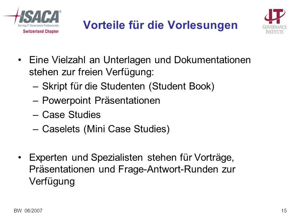 BW 06/200715 Vorteile für die Vorlesungen Eine Vielzahl an Unterlagen und Dokumentationen stehen zur freien Verfügung: –Skript für die Studenten (Stud