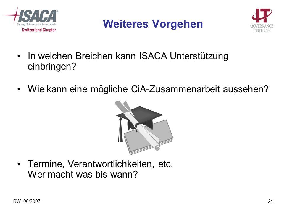 BW 06/200721 Weiteres Vorgehen In welchen Breichen kann ISACA Unterstützung einbringen? Wie kann eine mögliche CiA-Zusammenarbeit aussehen? Termine, V