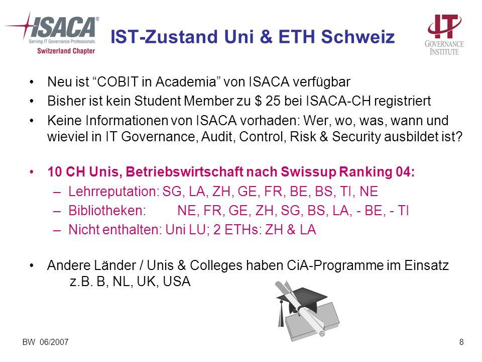 BW 06/20078 IST-Zustand Uni & ETH Schweiz Neu ist COBIT in Academia von ISACA verfügbar Bisher ist kein Student Member zu $ 25 bei ISACA-CH registrier