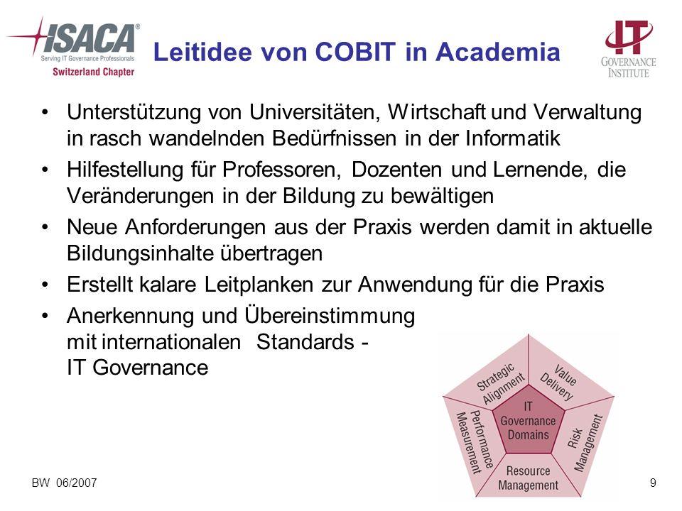 BW 06/20079 Leitidee von COBIT in Academia Unterstützung von Universitäten, Wirtschaft und Verwaltung in rasch wandelnden Bedürfnissen in der Informat