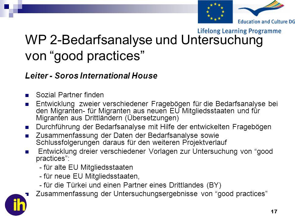 17 WP 2-Bedarfsanalyse und Untersuchung von good practices Leiter - Soros International House Sozial Partner finden Entwicklung zweier verschiedener F