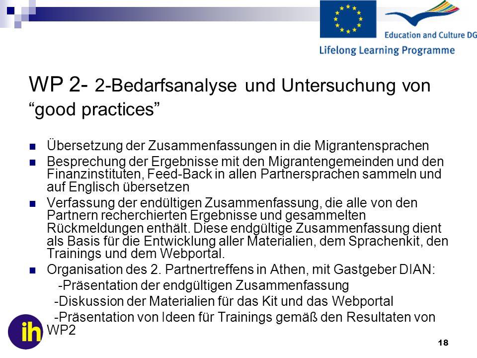 18 WP 2- 2-Bedarfsanalyse und Untersuchung von good practices Übersetzung der Zusammenfassungen in die Migrantensprachen Besprechung der Ergebnisse mi