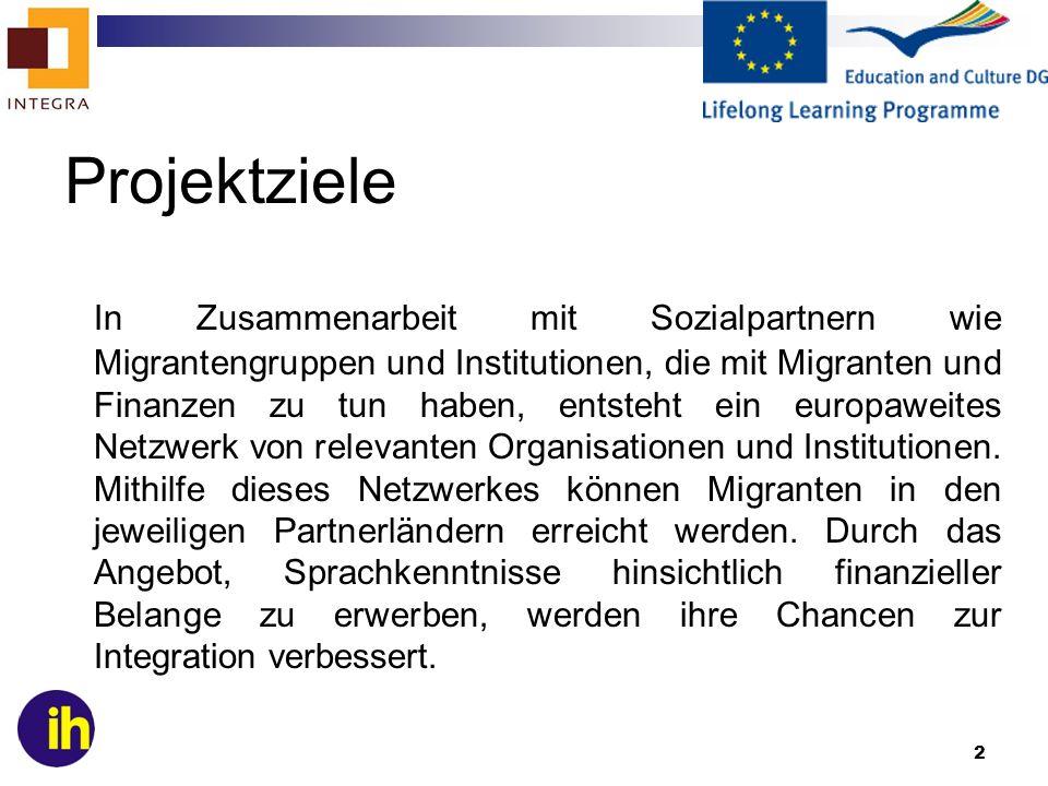 2 Projektziele In Zusammenarbeit mit Sozialpartnern wie Migrantengruppen und Institutionen, die mit Migranten und Finanzen zu tun haben, entsteht ein
