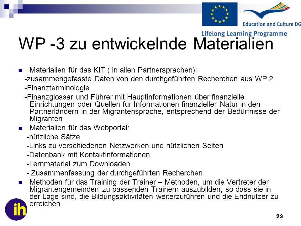 23 WP -3 zu entwickelnde Materialien Materialien für das KIT ( in allen Partnersprachen): -zusammengefasste Daten von den durchgeführten Recherchen au