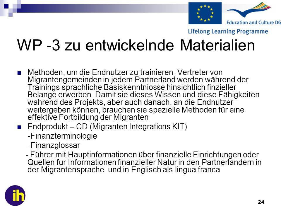 24 WP -3 zu entwickelnde Materialien Methoden, um die Endnutzer zu trainieren- Vertreter von Migrantengemeinden in jedem Partnerland werden während de