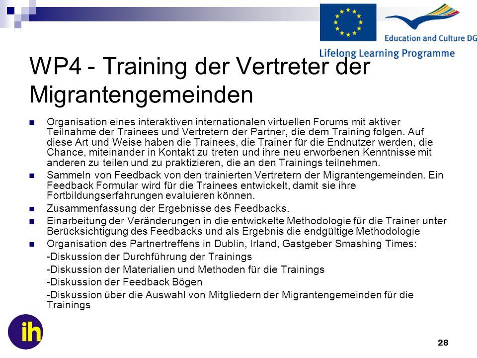 28 WP4 - Training der Vertreter der Migrantengemeinden Organisation eines interaktiven internationalen virtuellen Forums mit aktiver Teilnahme der Trainees und Vertretern der Partner, die dem Training folgen.