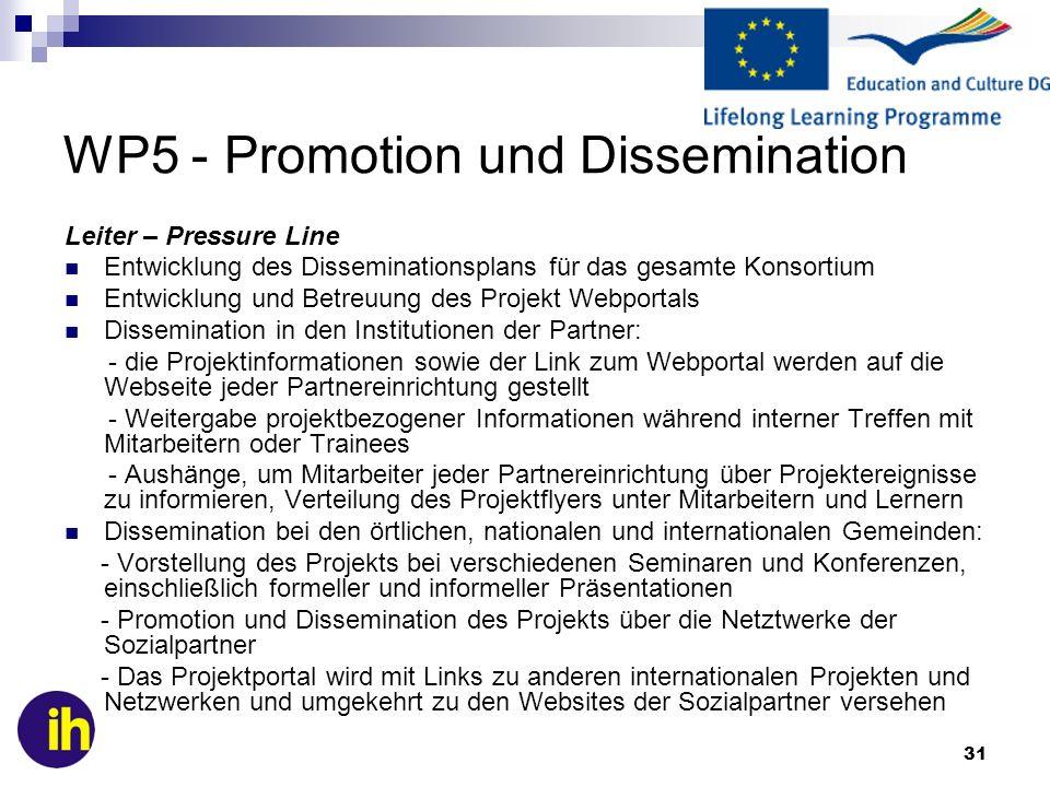 31 WP5 - Promotion und Dissemination Leiter – Pressure Line Entwicklung des Disseminationsplans für das gesamte Konsortium Entwicklung und Betreuung d