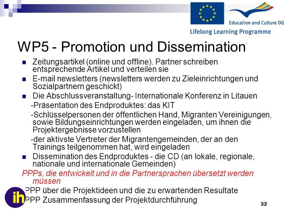 32 WP5 - Promotion und Dissemination Zeitungsartikel (online und offline). Partner schreiben entsprechende Artikel und verteilen sie E-mail newsletter