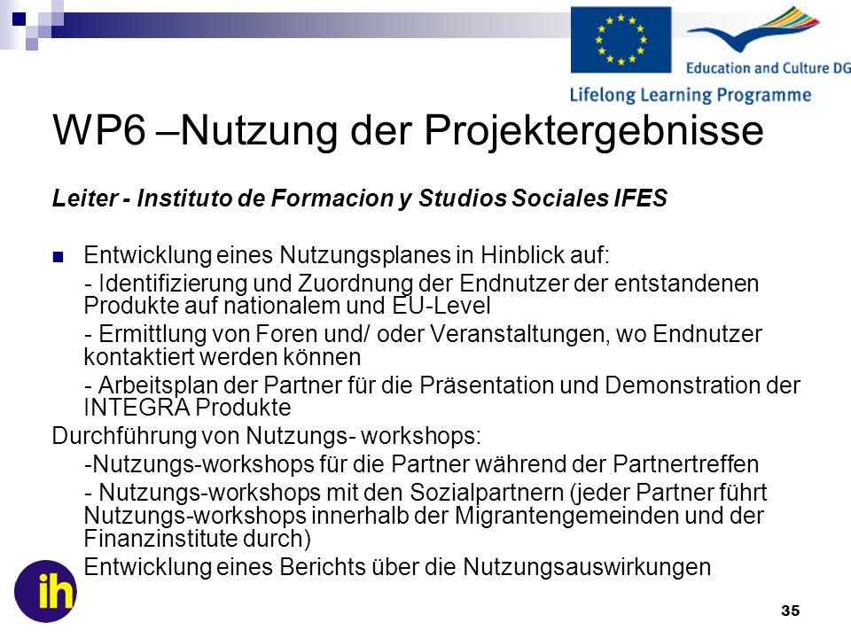 35 WP6 –Nutzung der Projektergebnisse Leiter - Instituto de Formacion y Studios Sociales IFES Entwicklung eines Nutzungsplanes in Hinblick auf: - Identifizierung und Zuordnung der Endnutzer der entstandenen Produkte auf nationalem und EU-Level - Ermittlung von Foren und/ oder Veranstaltungen, wo Endnutzer kontaktiert werden können - Arbeitsplan der Partner für die Präsentation und Demonstration der INTEGRA Produkte Durchführung von Nutzungs- workshops: -Nutzungs-workshops für die Partner während der Partnertreffen - Nutzungs-workshops mit den Sozialpartnern (jeder Partner führt Nutzungs-workshops innerhalb der Migrantengemeinden und der Finanzinstitute durch) Entwicklung eines Berichts über die Nutzungsauswirkungen