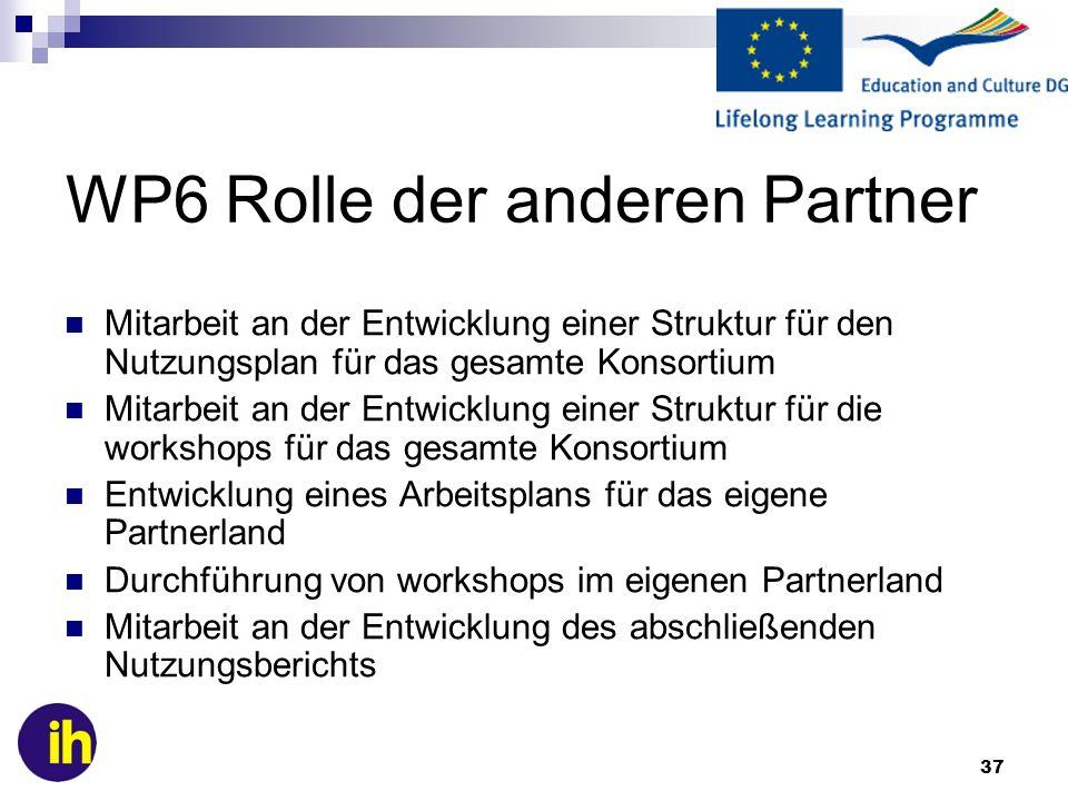 37 WP6 Rolle der anderen Partner Mitarbeit an der Entwicklung einer Struktur für den Nutzungsplan für das gesamte Konsortium Mitarbeit an der Entwickl