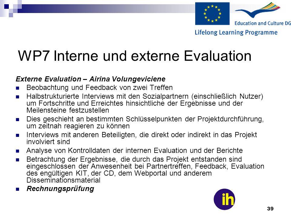 39 WP7 Interne und externe Evaluation Externe Evaluation – Airina Volungeviciene Beobachtung und Feedback von zwei Treffen Halbstrukturierte Interview