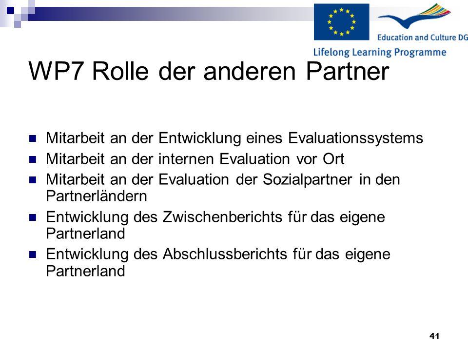 41 WP7 Rolle der anderen Partner Mitarbeit an der Entwicklung eines Evaluationssystems Mitarbeit an der internen Evaluation vor Ort Mitarbeit an der E