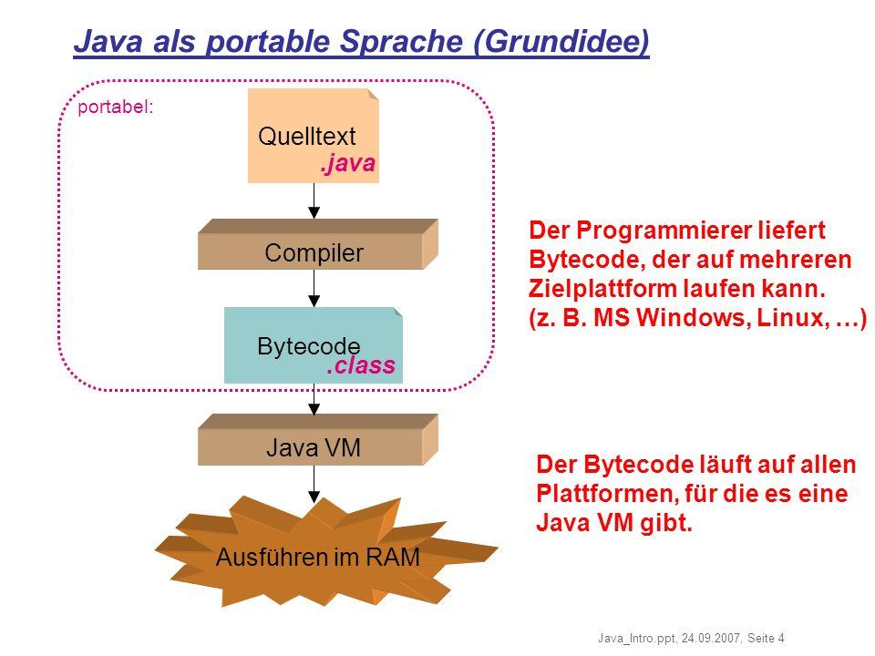 Java_Intro.ppt, 24.09.2007, Seite 4 portabel: Ausführen im RAM Java als portable Sprache (Grundidee) Quelltext Compiler.java Java VM Bytecode.class Der Bytecode läuft auf allen Plattformen, für die es eine Java VM gibt.