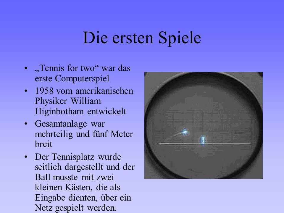 Die ersten Spiele Tennis for two war das erste Computerspiel 1958 vom amerikanischen Physiker William Higinbotham entwickelt Gesamtanlage war mehrteil